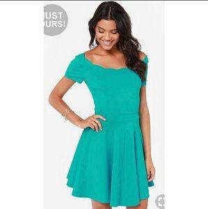 Lulu's Teal Scalloped Fit & Flare Dress Sz L